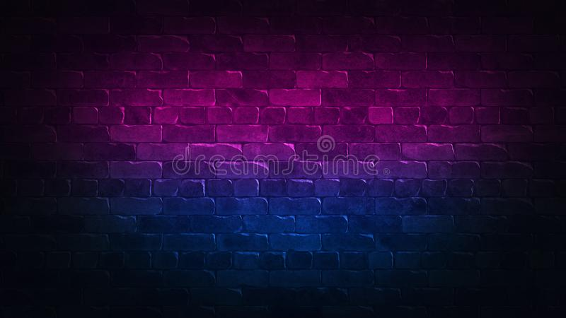 Retro 80s abstract advertising with colorful brick wall background neon for concept design. Background pattern. Blue abstract royalty free illustration