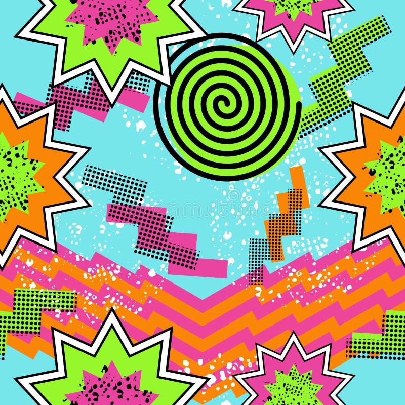 Retro 80s comic pattern background royalty free illustration