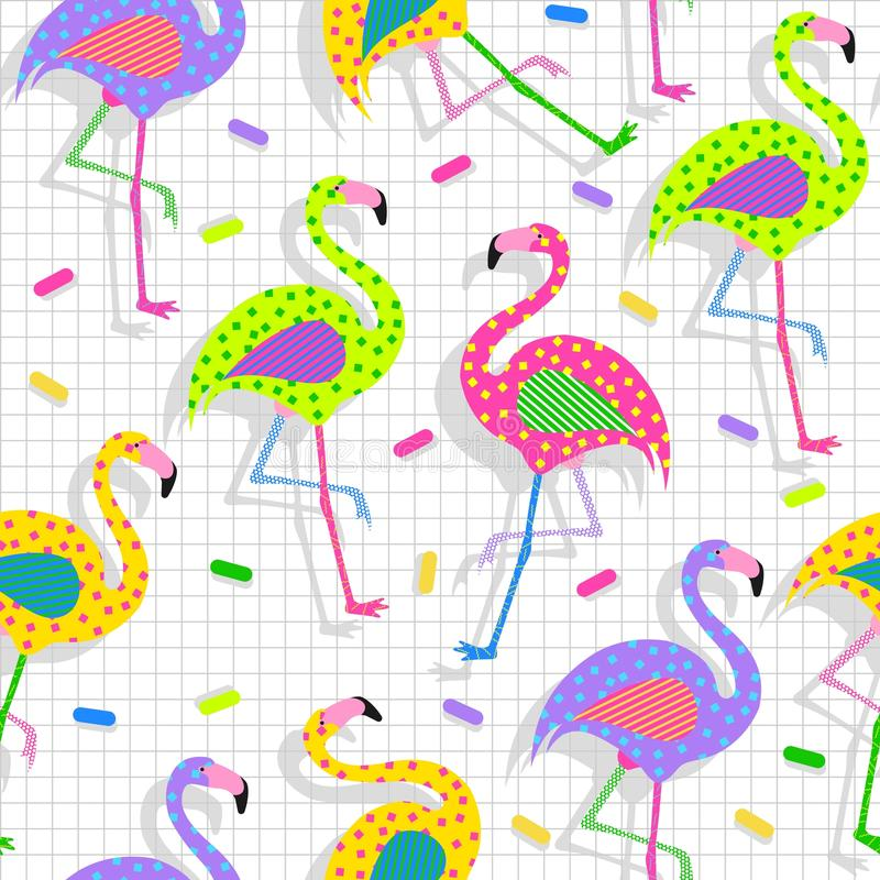 Retro 80s flamingo pattern background stock illustration
