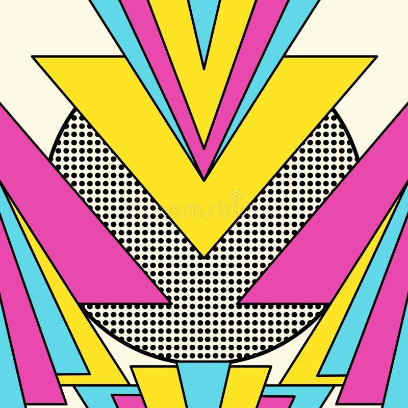 Retro 80s geometryczny deseniowy tło royalty ilustracja