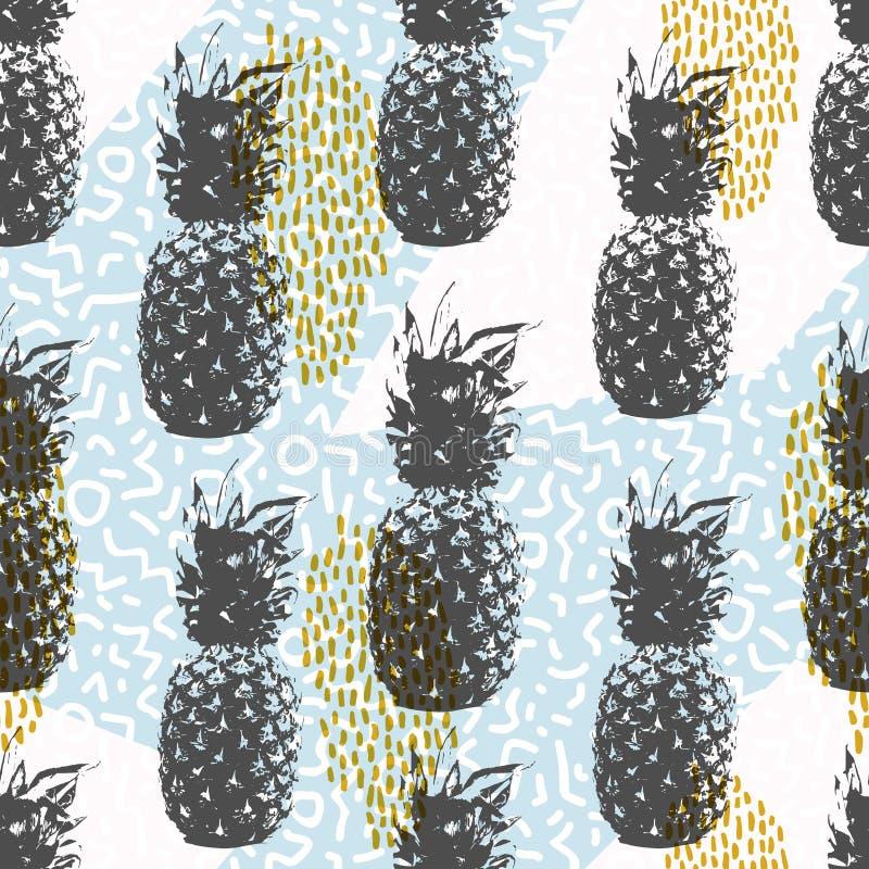 Retro 80s lata bezszwowy wzór z ananasem royalty ilustracja