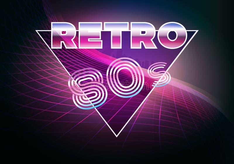 Retro 80s lata osiemdziesiąte neonowy tło ilustracja wektor