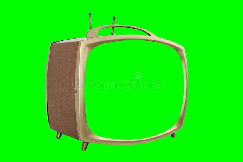 Retro 1950s Television Isolated with Chroma Green Screen and Background stock photo