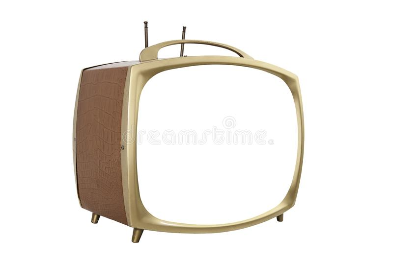 Retro 1950s Portable Television with Cut Out Screen royalty free stock photo