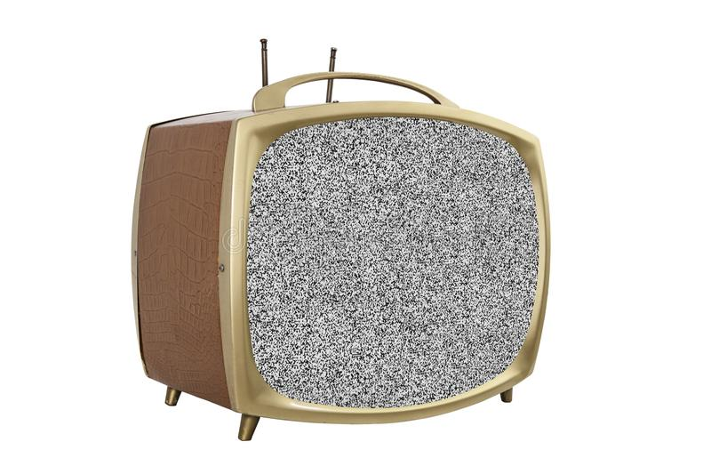 Retro 1950s Portable Television with Static Screen royalty free stock images