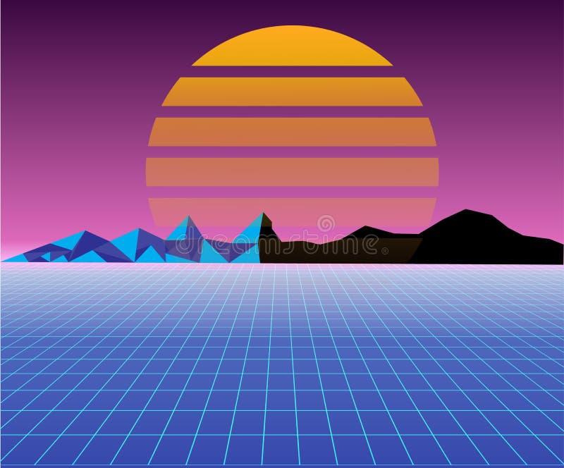 Retro 80s słońca krajobraz futurystyczny fantastyka naukowa tła 80s styl Stosowny dla jakaś druku projekta w 80s stylu ilustracji