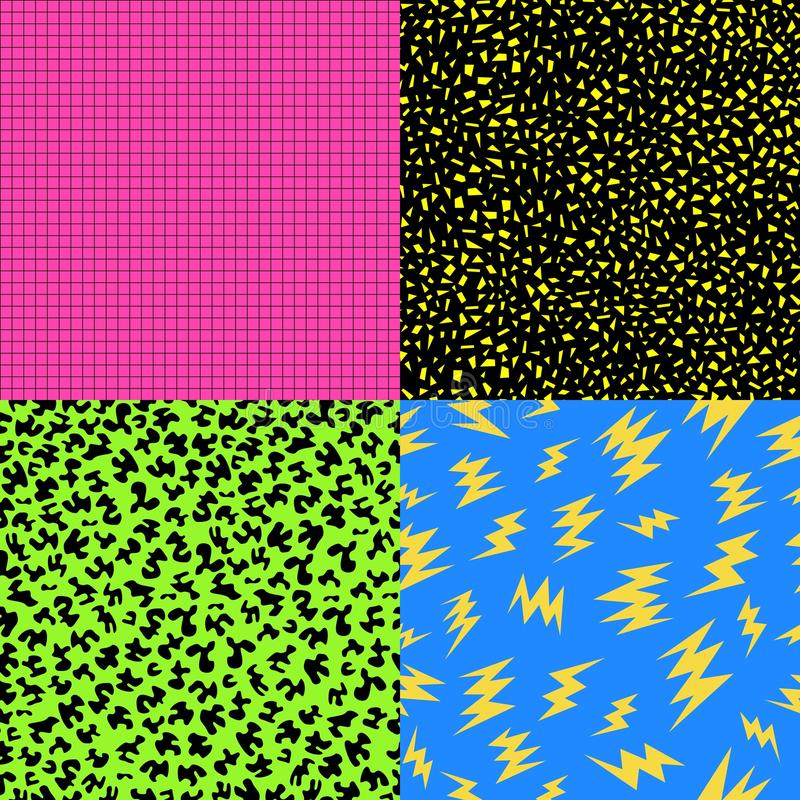 Retro 80s seamless pattern background set stock photos