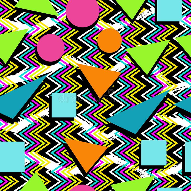 Retro 80s seamless pattern background royalty free stock photography