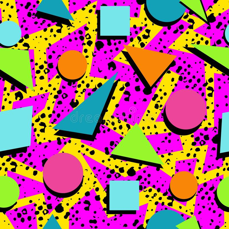 Retro 80s seamless pattern background vector illustration