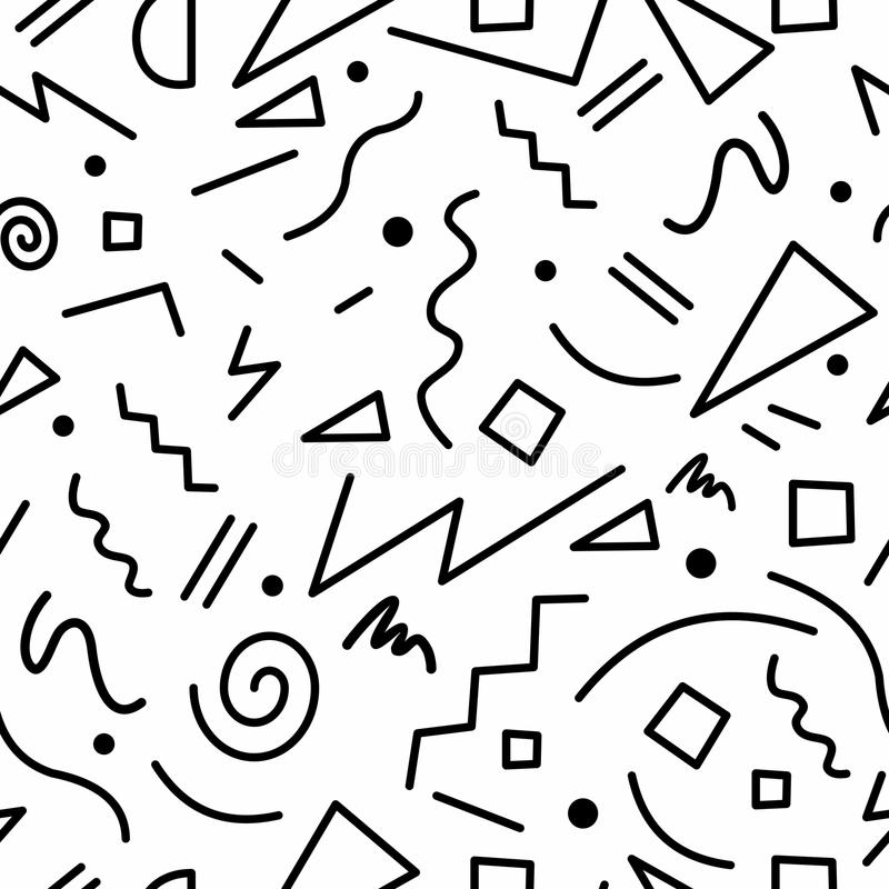 Download retro 80s seamless pattern in black and white stock vector illustration of shape