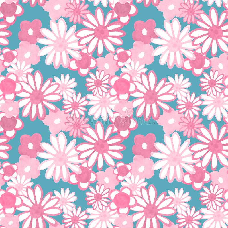 Retro 60s style pattern. Pink and red hand painted daisy flowers on pale blue background. Bohemian vintage print. Flower power. Colorful floral seamles pattern vector illustration