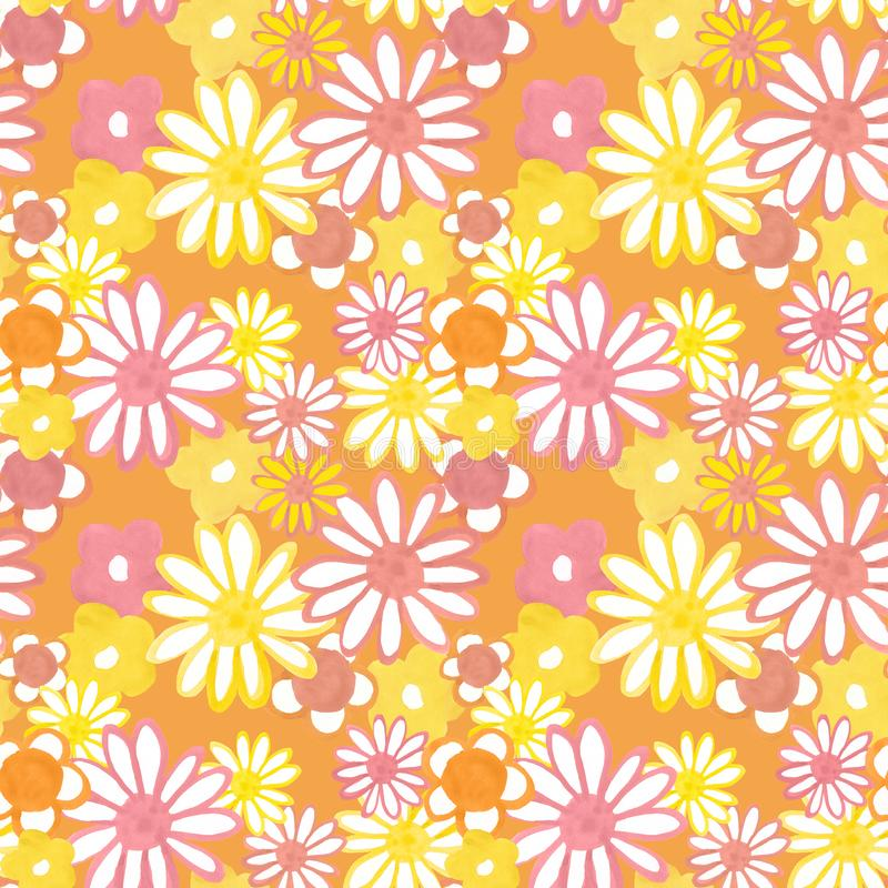Retro 60s style pattern. Pink and yellow daisy flowers on orange background. Bohemian vintage print. Flower power. Colorful floral seamles pattern in 60s - 70s stock illustration