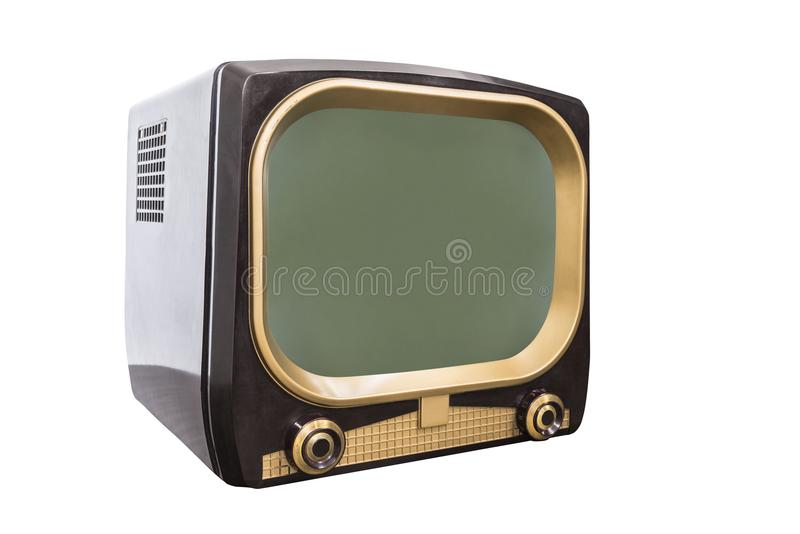 Retro 1950s Television Isolated with Clipping Path royalty free stock images