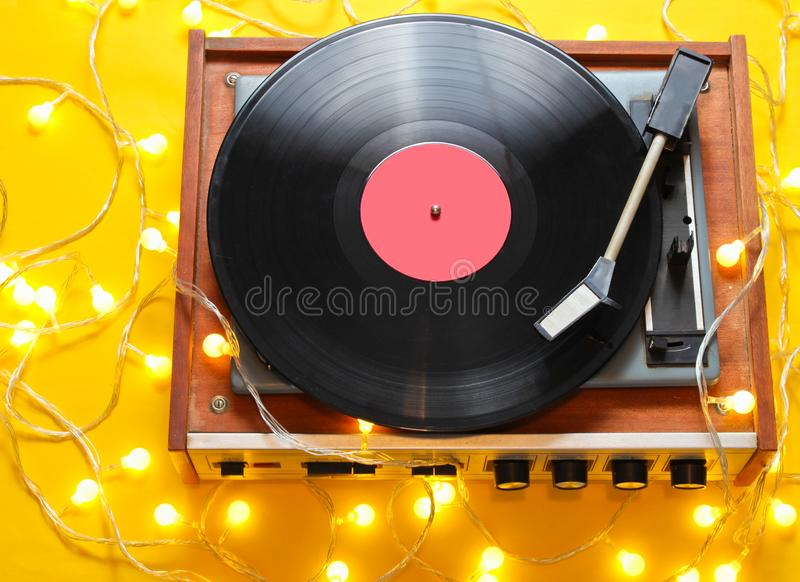 Retro 80s vinyl player royalty free stock photo