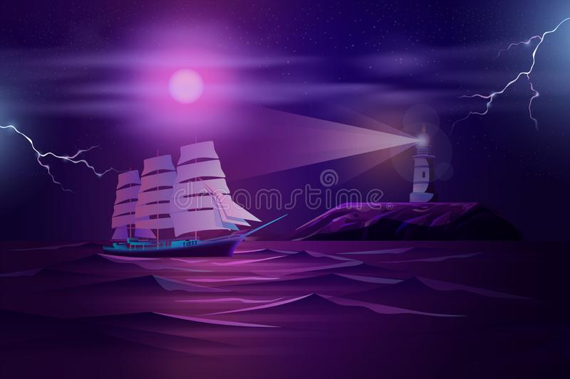 Frigate sailing in stormy ocean cartoon vector. Retro sailing ship, old frigate or yacht sails at night in stormy sea or ocean near rocky shore with working vector illustration