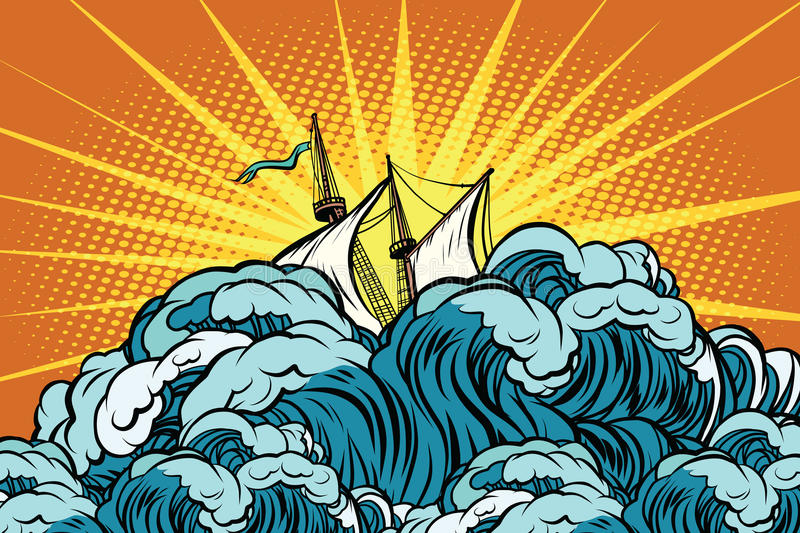 Retro sailing ship sinks in stormy waves vector illustration