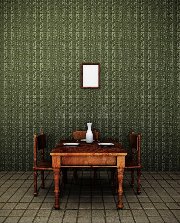 Retro sala da pranzo illustrazione vettoriale