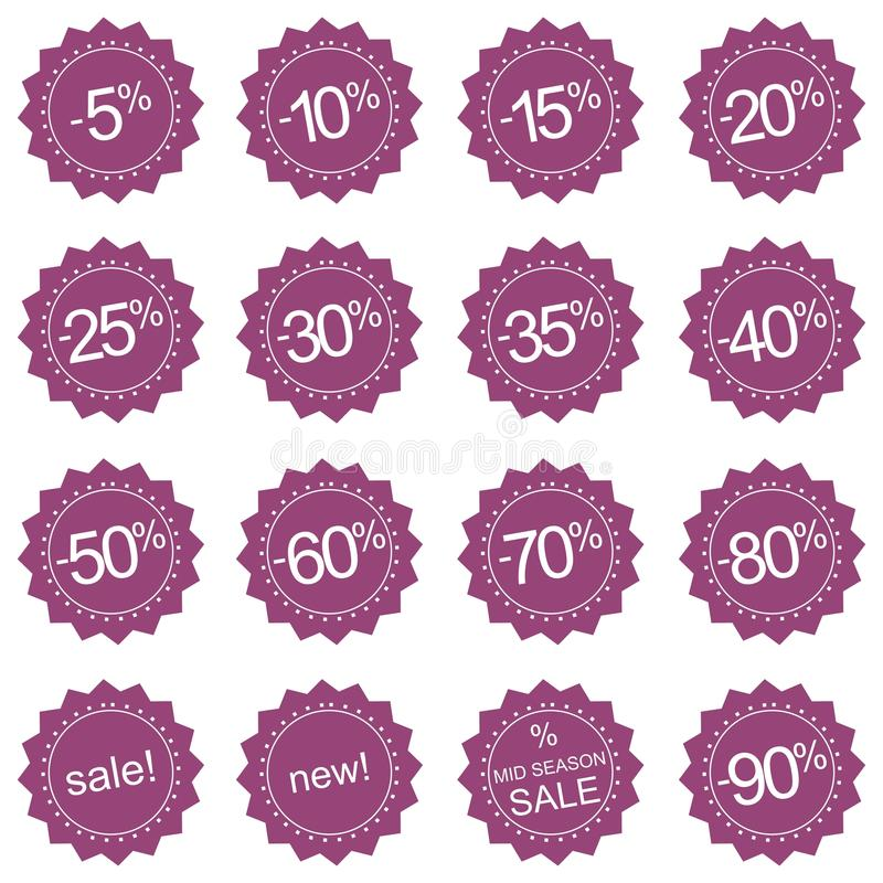 Retro sale icons, tag stickers or labels royalty free illustration