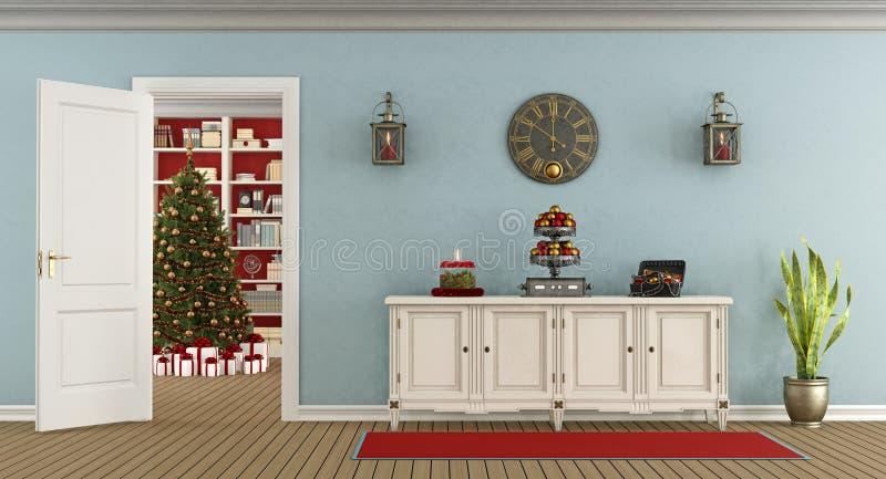 Retro salone con la decorazione di natale illustrazione di stock