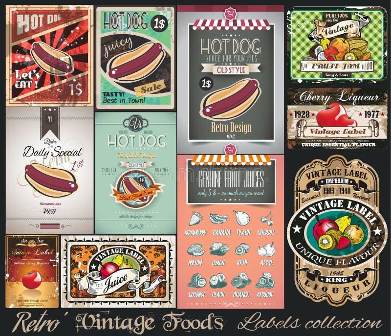 Retro samling för tappningFoodsetiketter Små affischer stock illustrationer