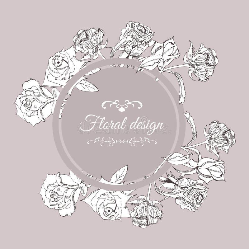 Retro sammansättning för cirkel med rosa blommor med sidor på sepiabakgrund Handen dragit färgpulver skissar stock illustrationer