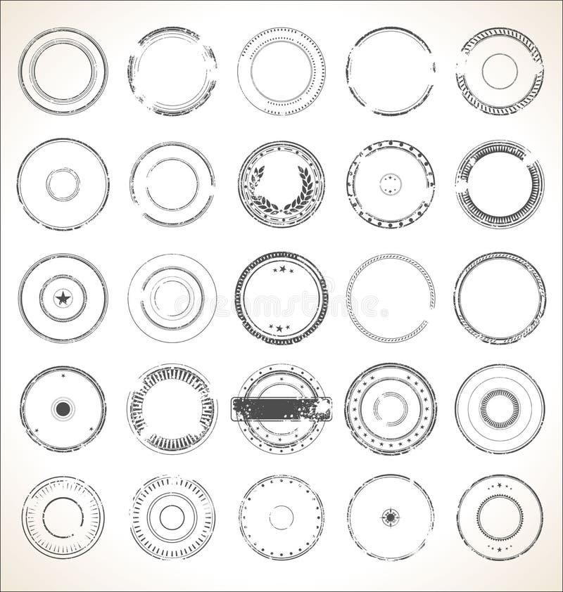 Retro- Sammlung des leeren Schmutzstempels stock abbildung
