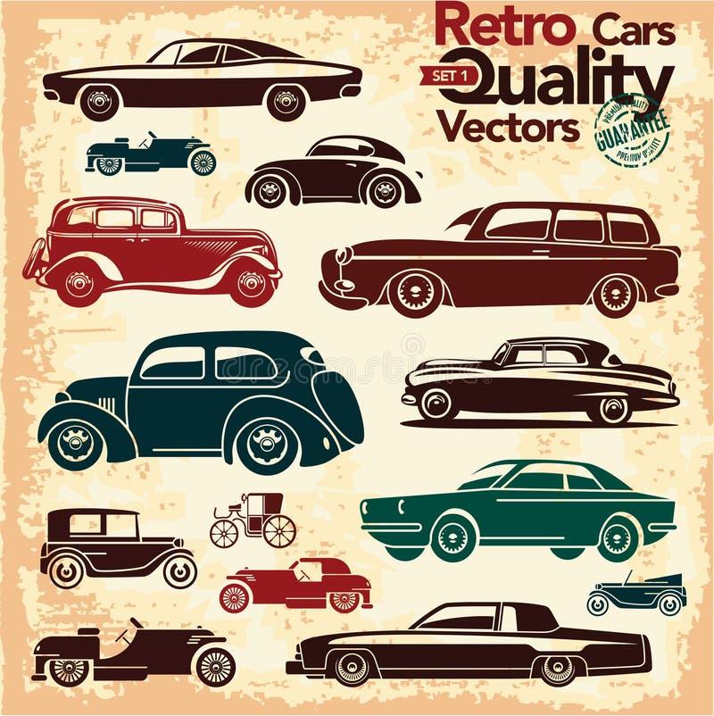 Retro samochód ikony ustawiają 1 royalty ilustracja