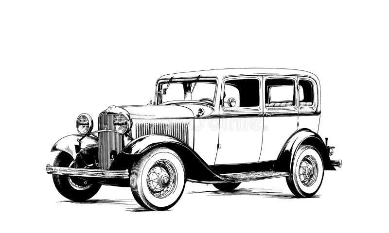 Retro samochód malujący atrament czarny i biały fotografia stock
