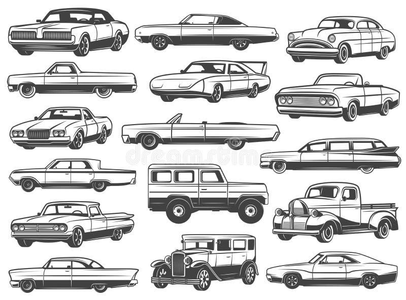 Retro samochód, rocznika sedan, kabriolet, pickup, furgon ilustracji