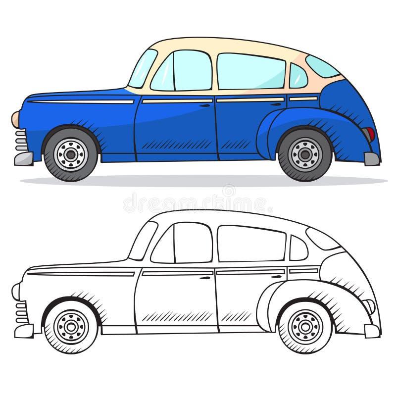 Retro samochód w kreskówka stylu Koloru i czerni konturu retro samochód Klasyczna samochodowa ręka rysujący set niebieski samochó ilustracji