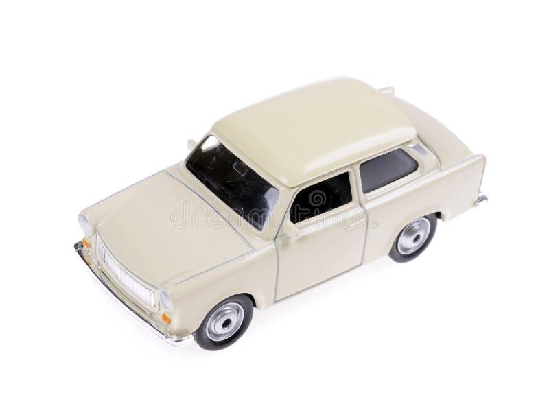 Retro samochód zabawki biel w 60s stylu odizolowywającym na bielu obrazy royalty free