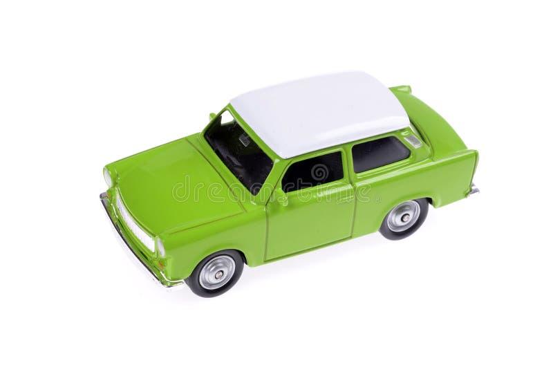 Retro samochód zabawki zieleń w 60s stylu odizolowywającym na bielu zdjęcia stock