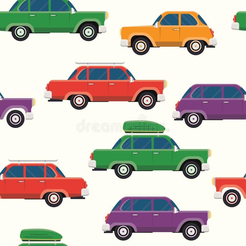 Retro samochodów bezszwowy wzór royalty ilustracja