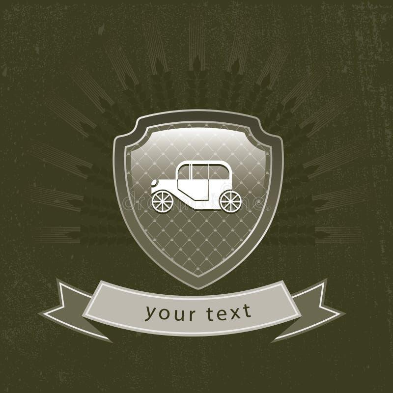 Retro samochodowy logo na osłonie ilustracja wektor