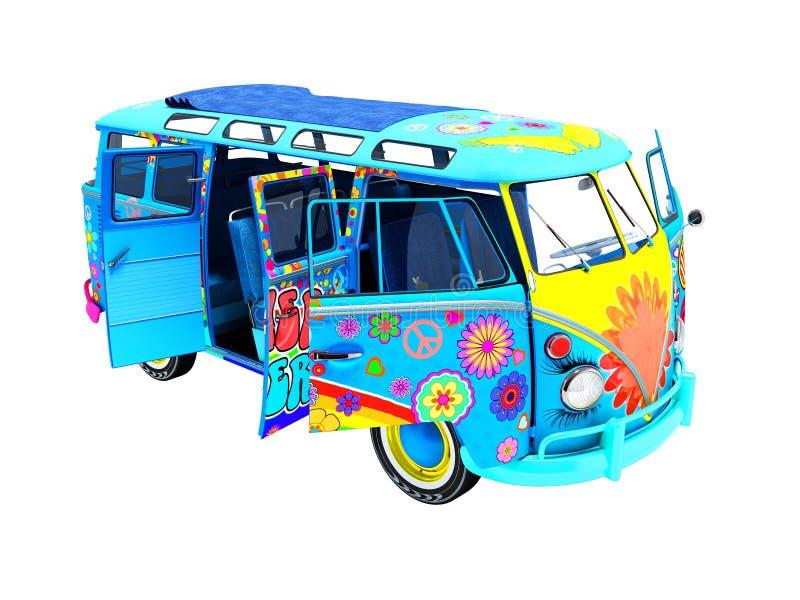 Retro samochodu dostawczego błękit w rozkładzie dla wycieczek plażowy plenerowy 3d ilustracja wektor