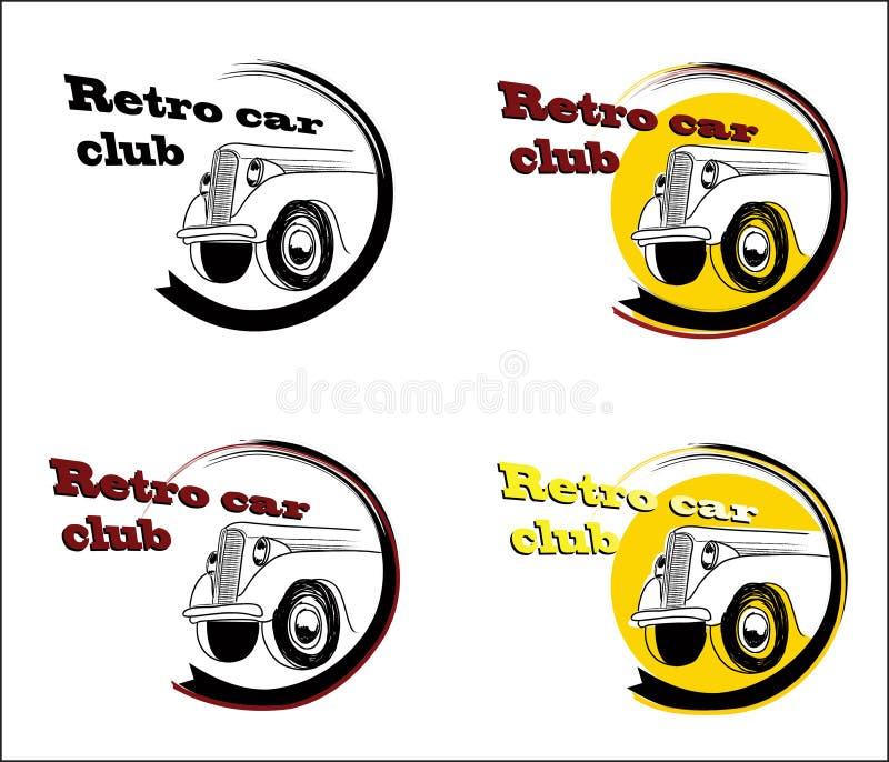 Retro samochodu klubu sztandaru set ilustracji