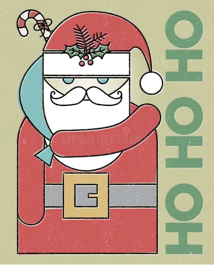 Retro Santa Ho Ho Ho Holiday Card royaltyfri illustrationer