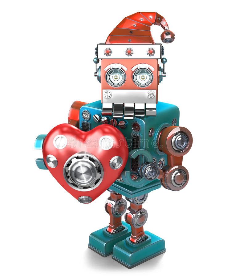 Retro Santa Robot with mechanical heart. . Contains clipping path royalty free illustration