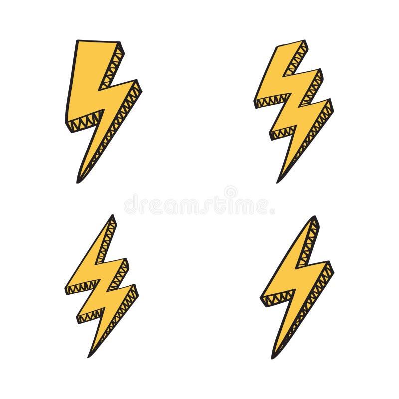 Retro- Satz des Vektors mit Blitzbolzen unterzeichnet herein komische Art vektor abbildung