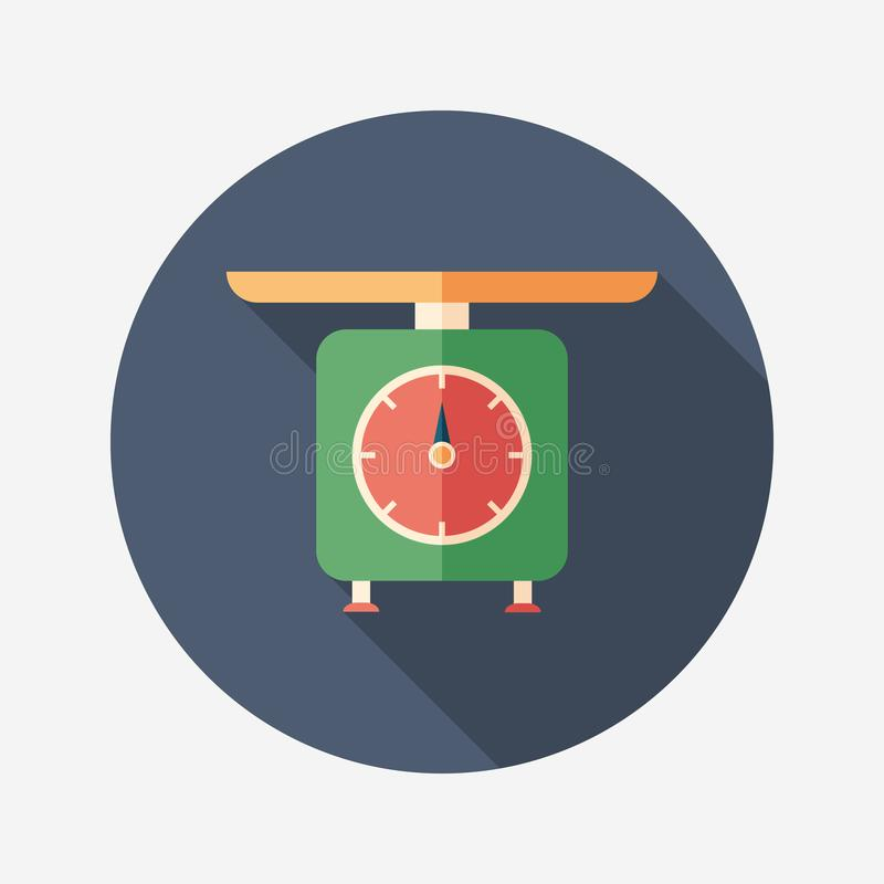 Retro scales flat round icon with long shadows. royalty free illustration