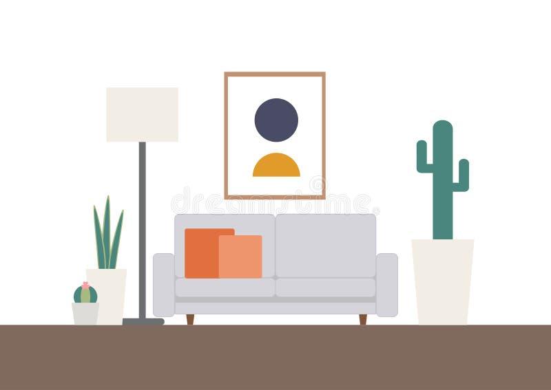 Retro scandinavian living room set royalty free illustration