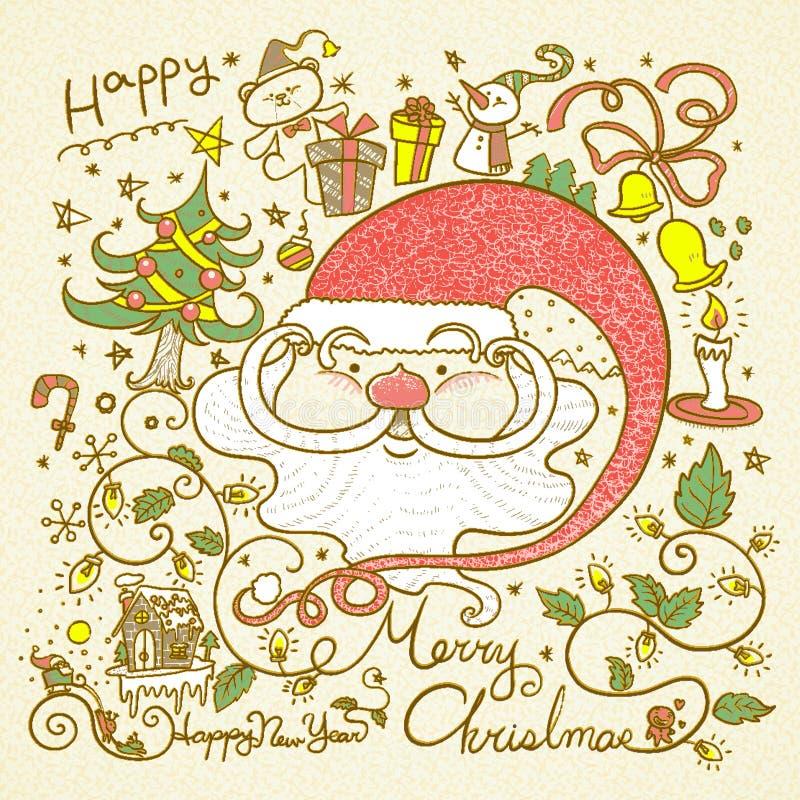 Retro scarabocchi di Buon Natale di stile illustrazione vettoriale