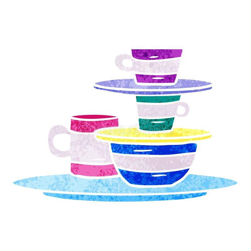 retro scarabocchio del fumetto delle ciotole e dei piatti colourful illustrazione vettoriale
