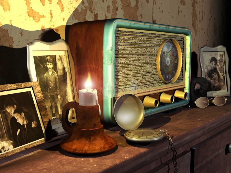 Retro scena della mobilia illustrazione di stock