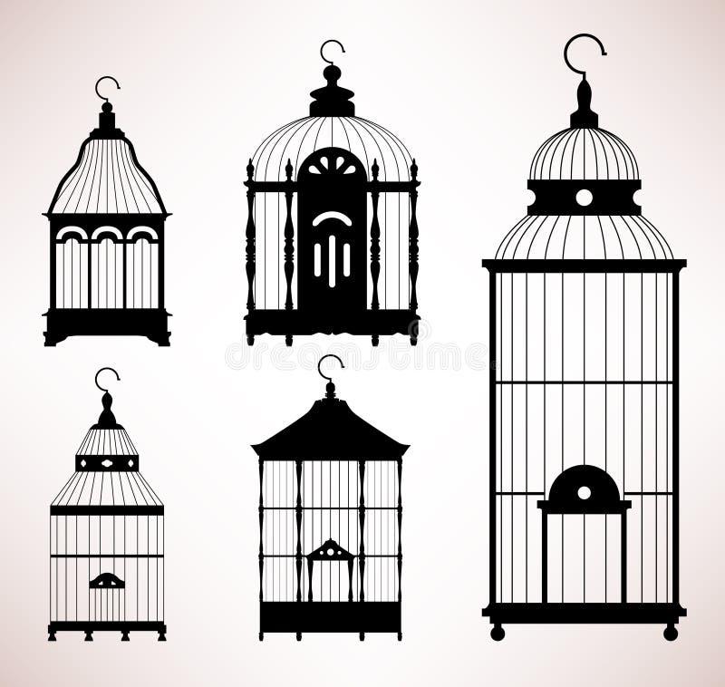Retro- Schattenbild der Vogel-Rahmen Birdcageweinlese stock abbildung