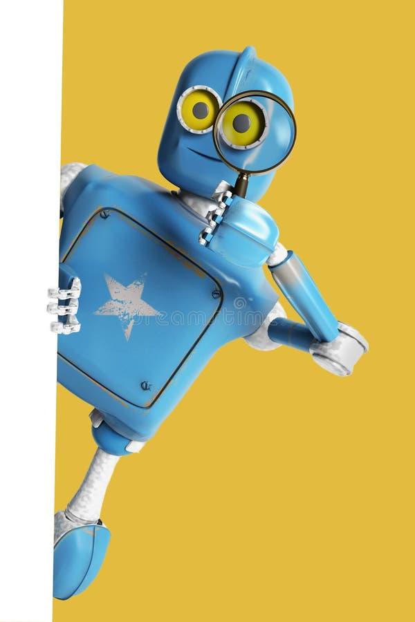 Retro- Schauen des Roboters durch eine Lupe Weinlese Cyborg stockbild