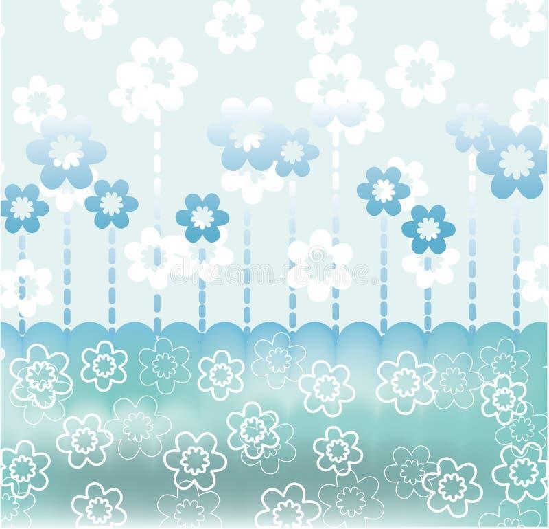 Retro scheda blu calma con i fiori illustrazione di stock