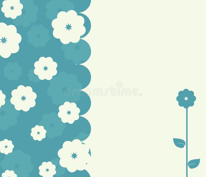 Retro scheda calma con i fiori illustrazione di stock