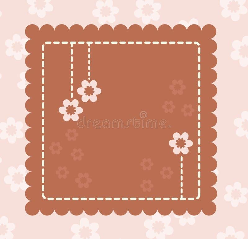 Retro scheda del Brown con i fiori illustrazione vettoriale