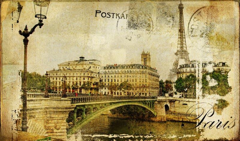 Retro scheda di Parigi illustrazione vettoriale